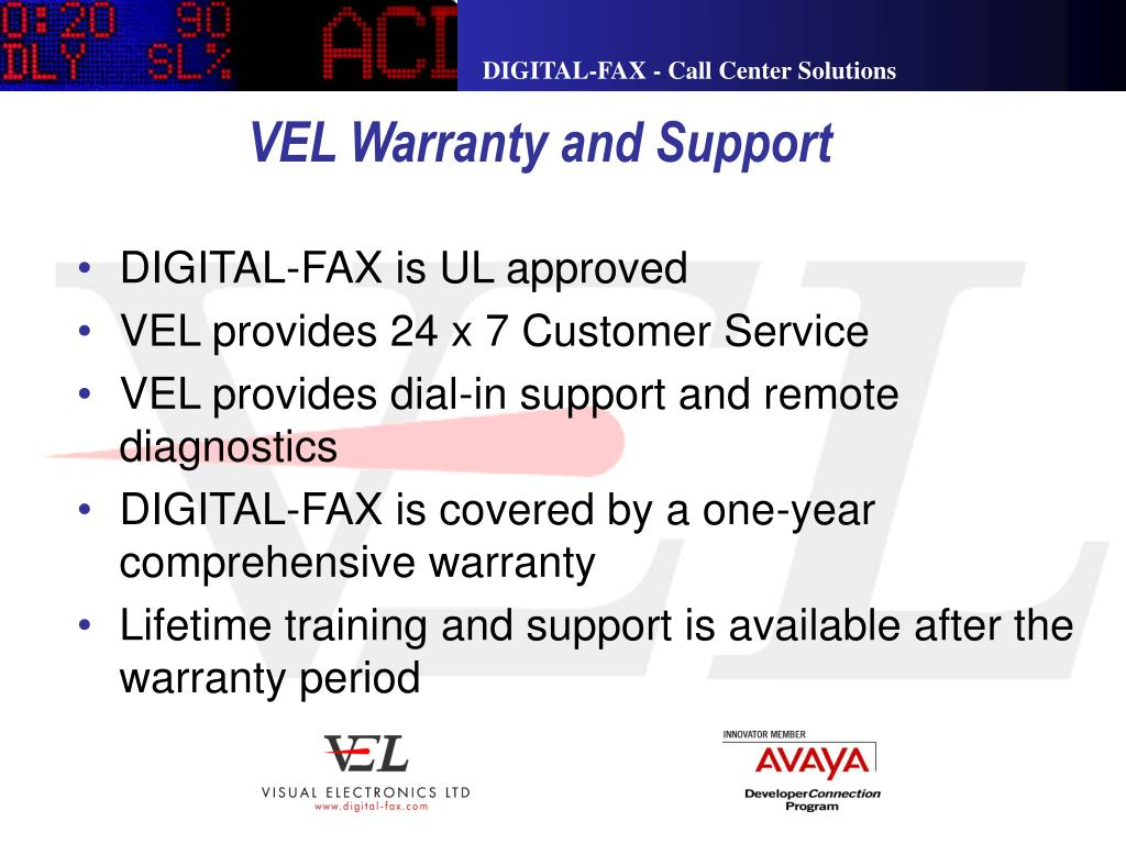 VEL Warranty and Support
