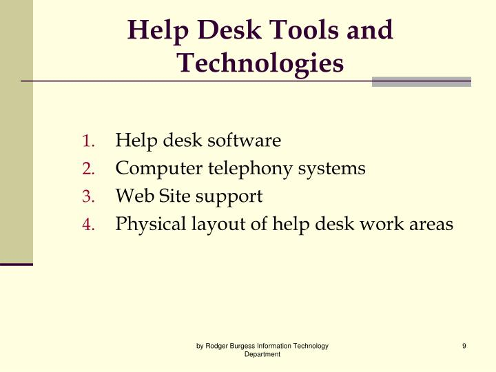 Help Desk Tools and Technologies