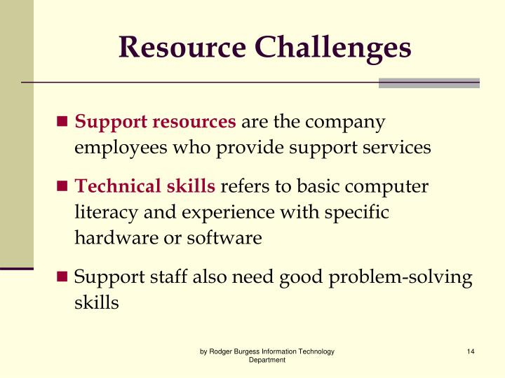 Resource Challenges