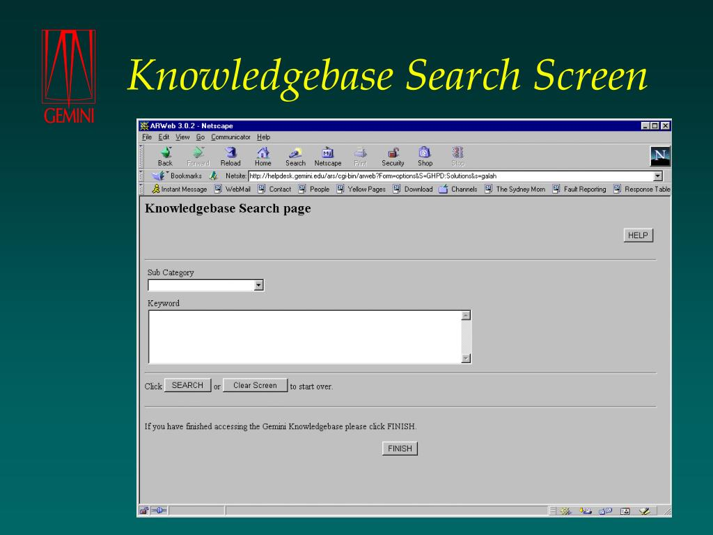 Knowledgebase Search Screen