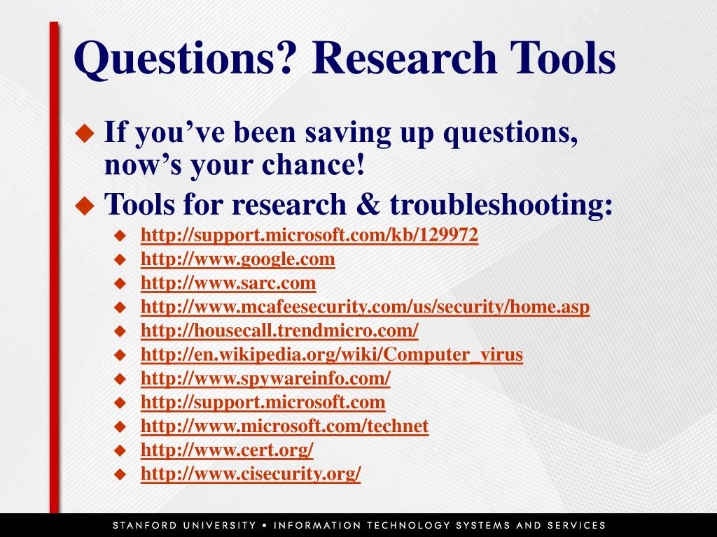 Questions? Research Tools