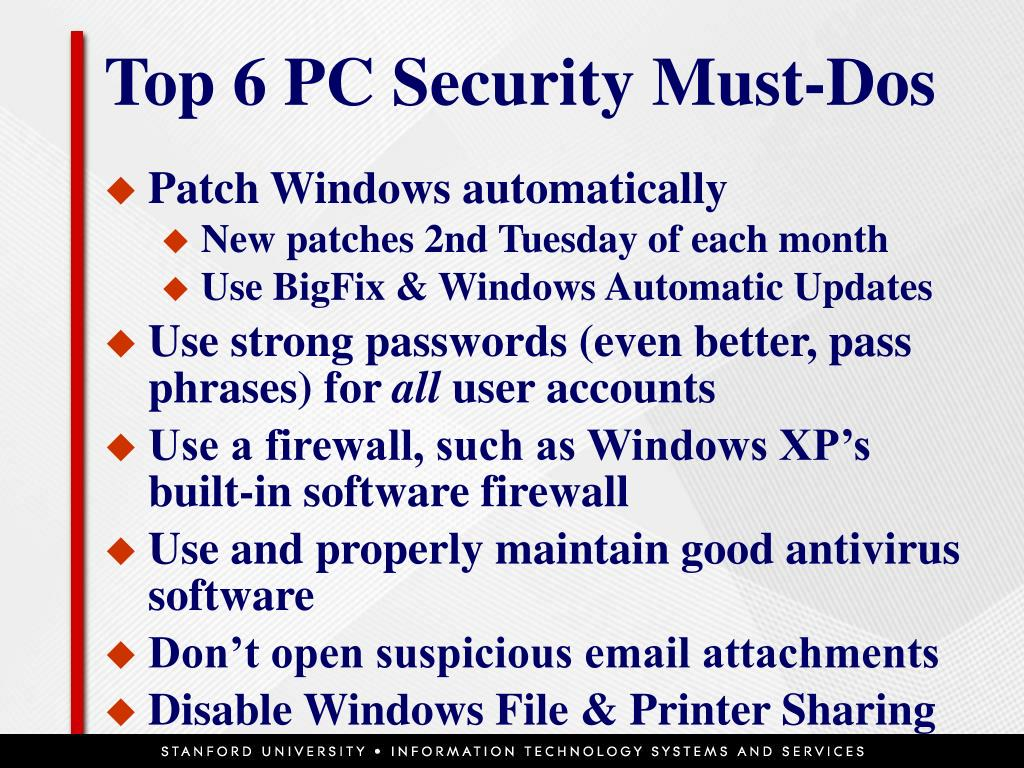 Top 6 PC Security Must-Dos