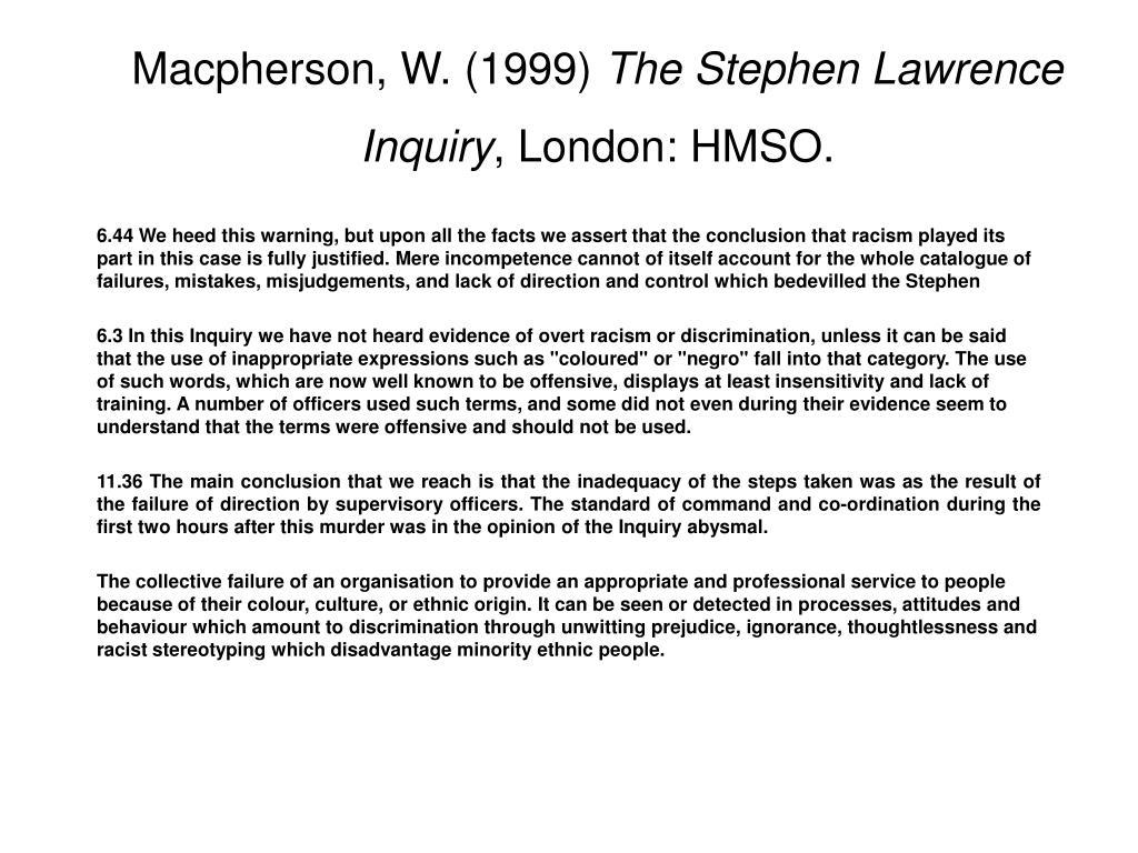 Macpherson, W. (1999)