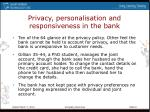 privacy personalisation and responsiveness in the bank