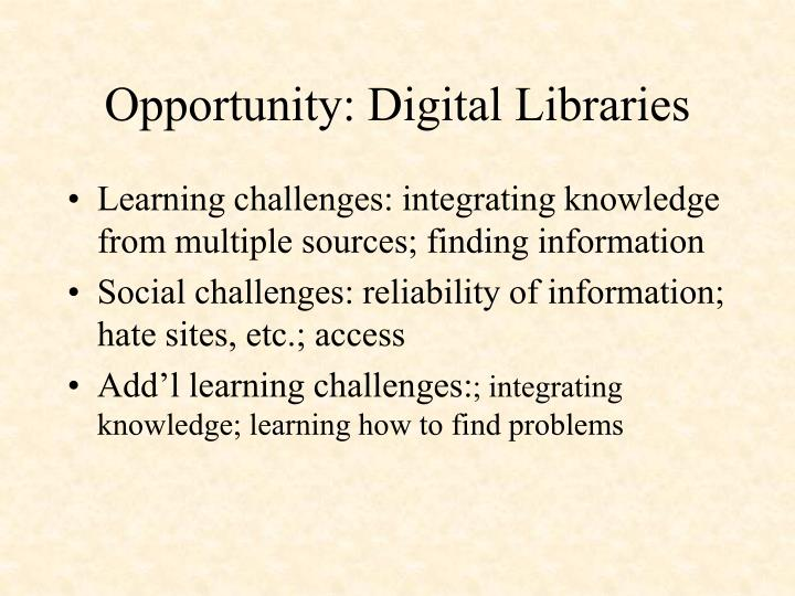 Opportunity: Digital Libraries