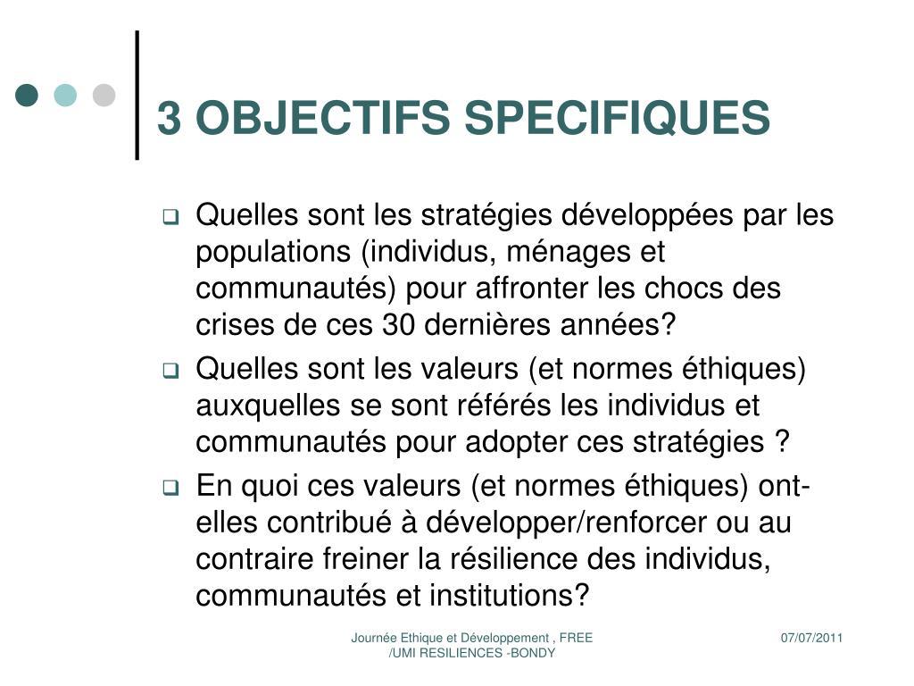 3 OBJECTIFS SPECIFIQUES