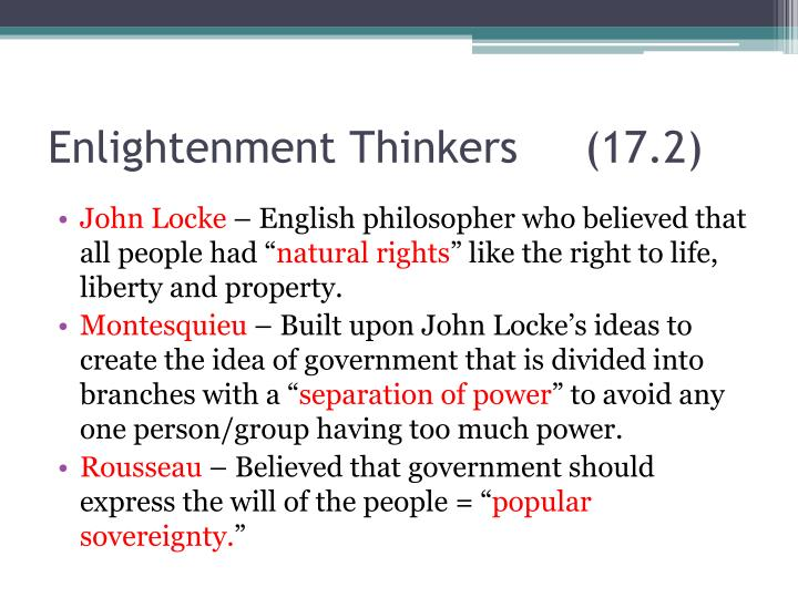 Enlightenment Thinkers     (17.2)