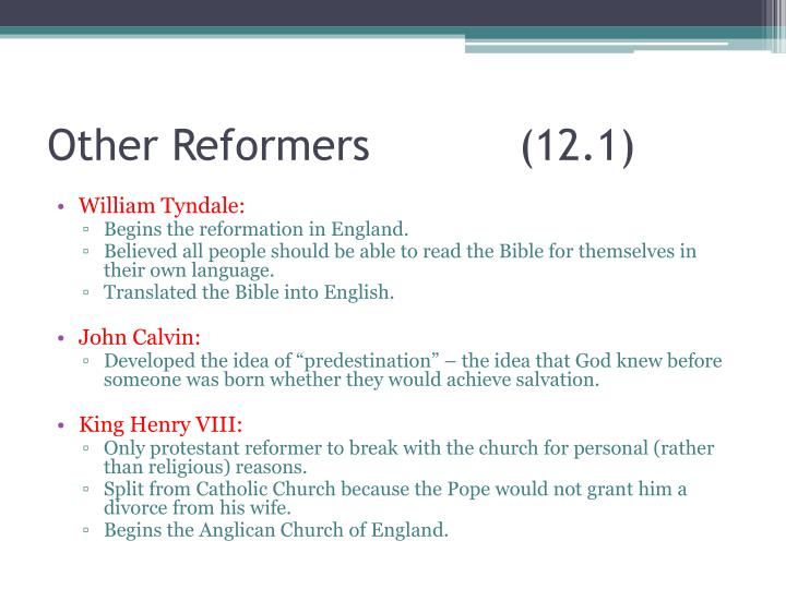 Other Reformers(12.1)