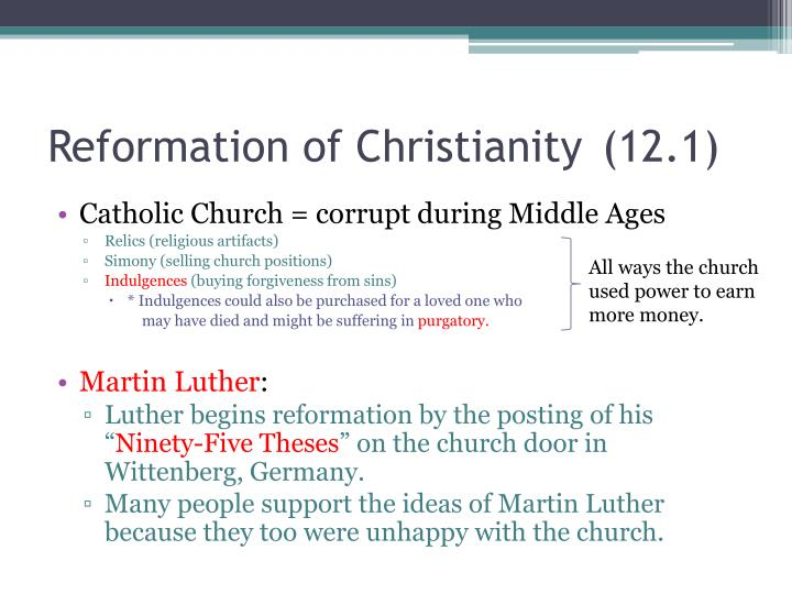 Reformation of Christianity(12.1)
