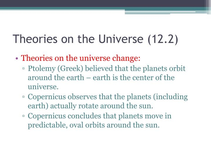 Theories on the Universe (12.2)