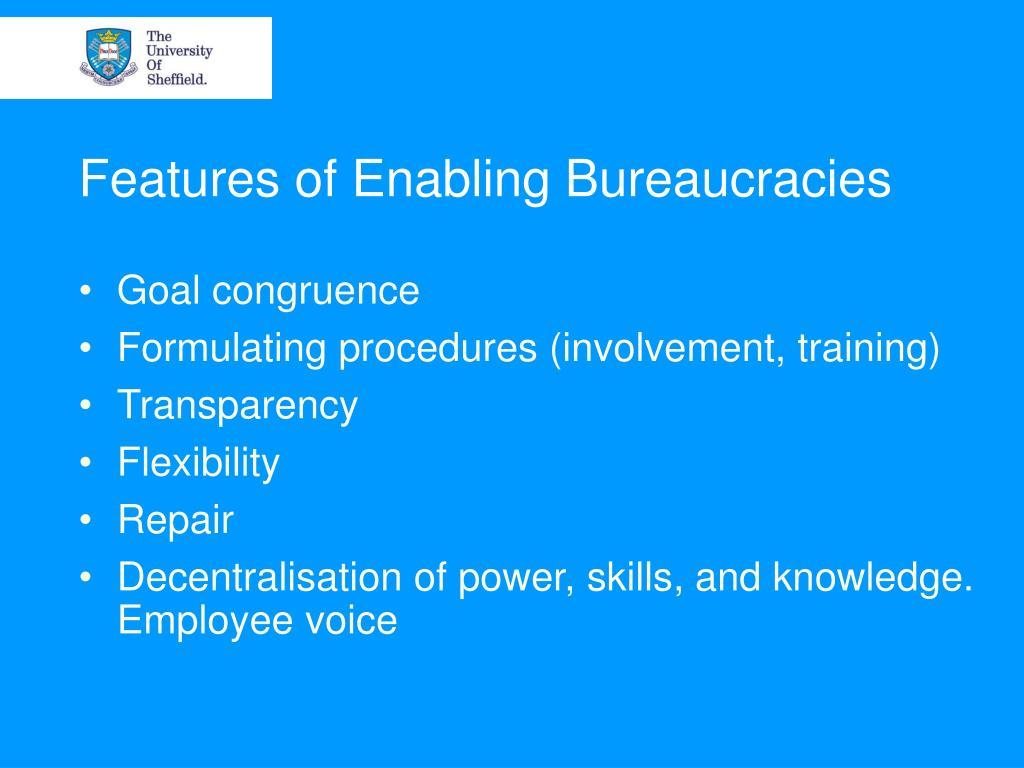 Features of Enabling Bureaucracies