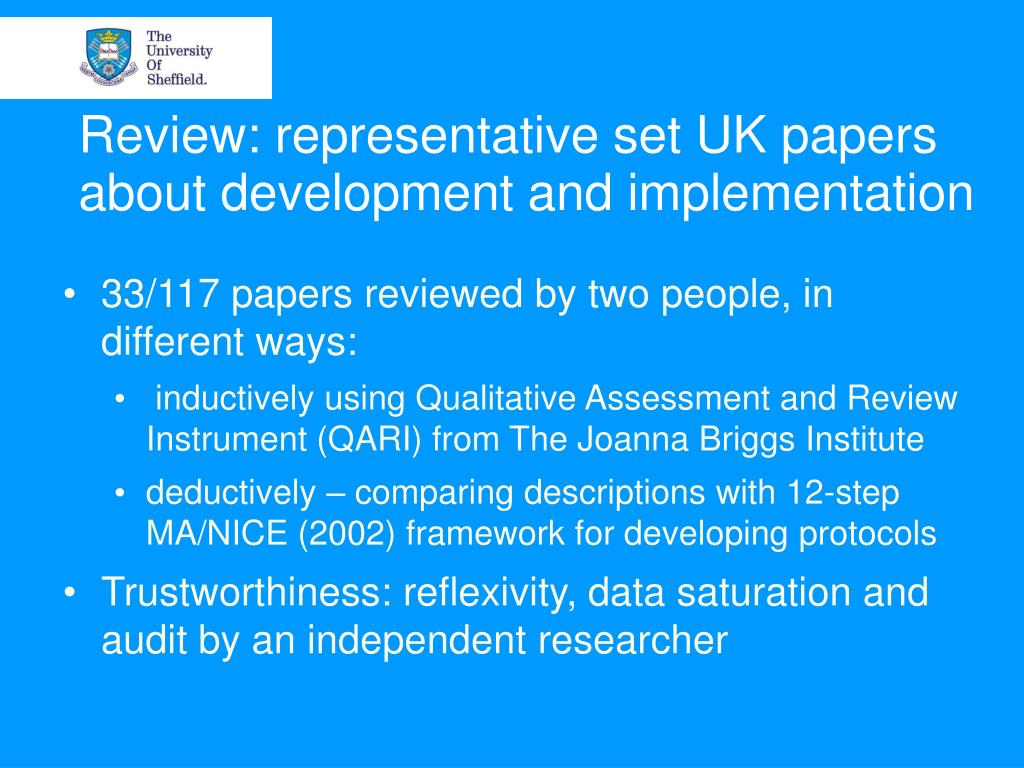 Review: representative set UK papers about development and implementation
