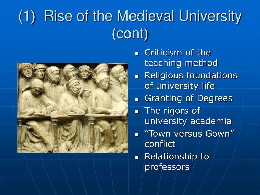 (1)  Rise of the Medieval University (cont)