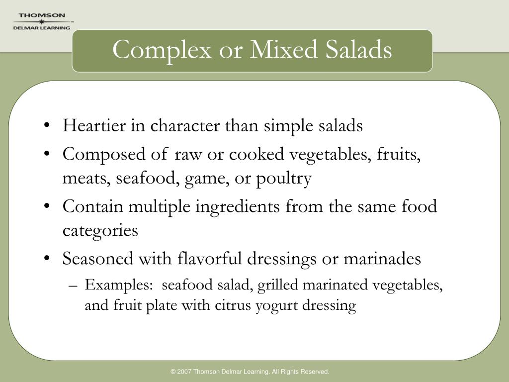 Complex or Mixed Salads