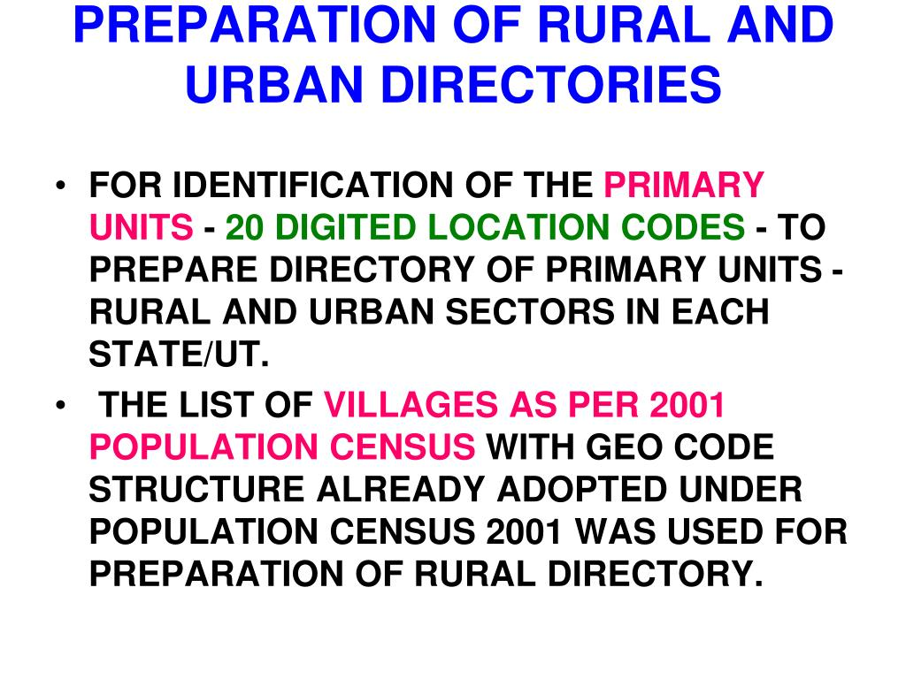 PREPARATION OF RURAL AND URBAN DIRECTORIES