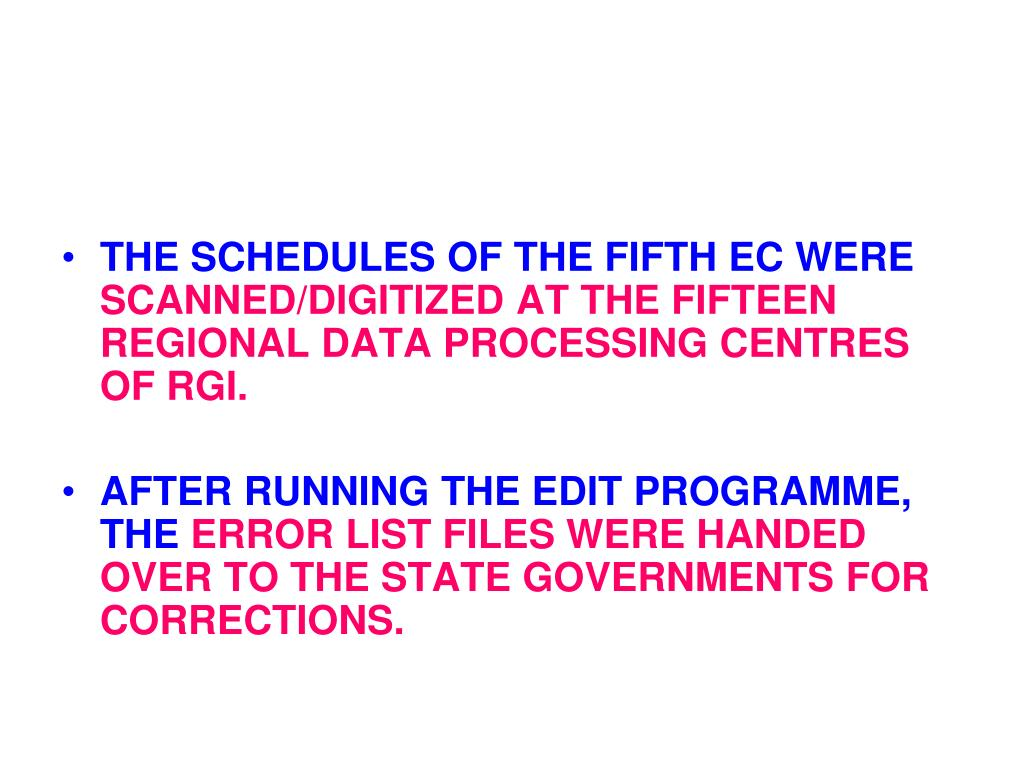 THE SCHEDULES OF THE FIFTH EC WERE