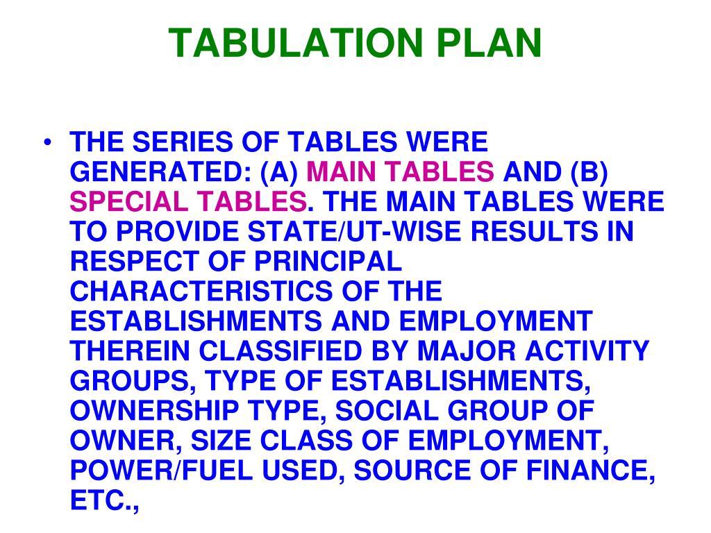 TABULATION PLAN