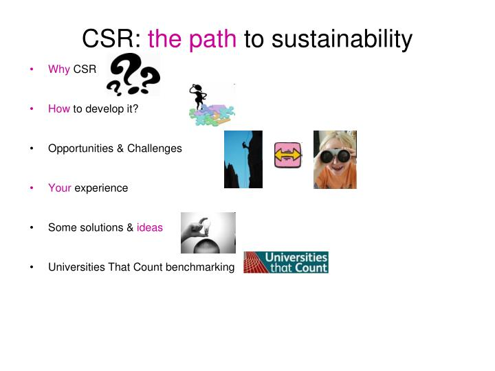 Csr the path to sustainability