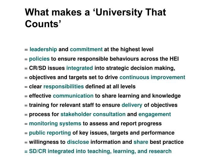 What makes a 'University That Counts'