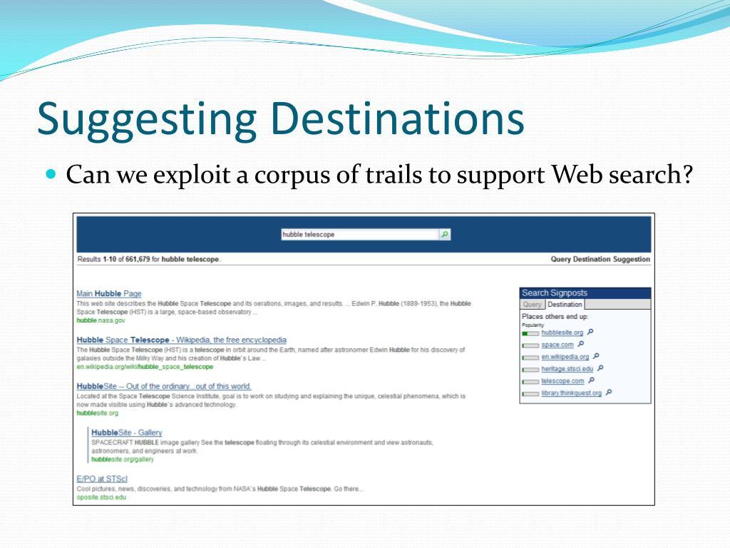 Suggesting Destinations