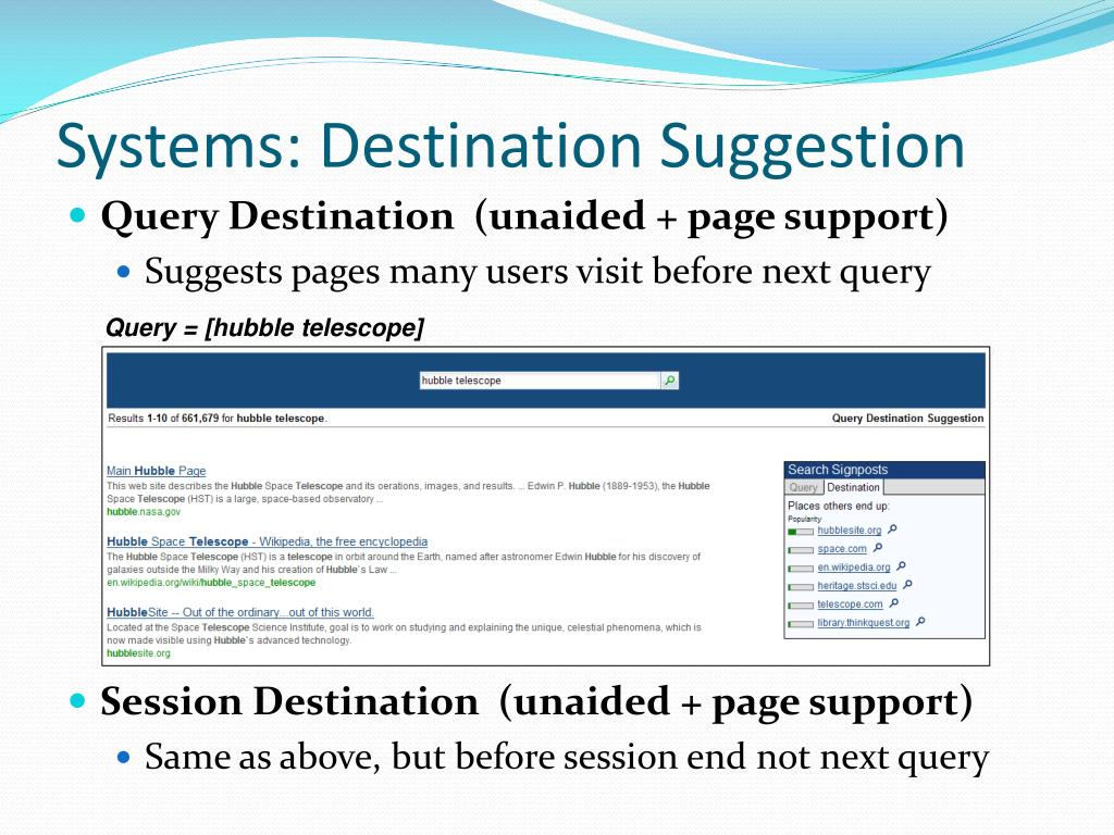 Systems: Destination Suggestion