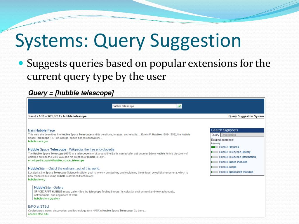 Systems: Query Suggestion