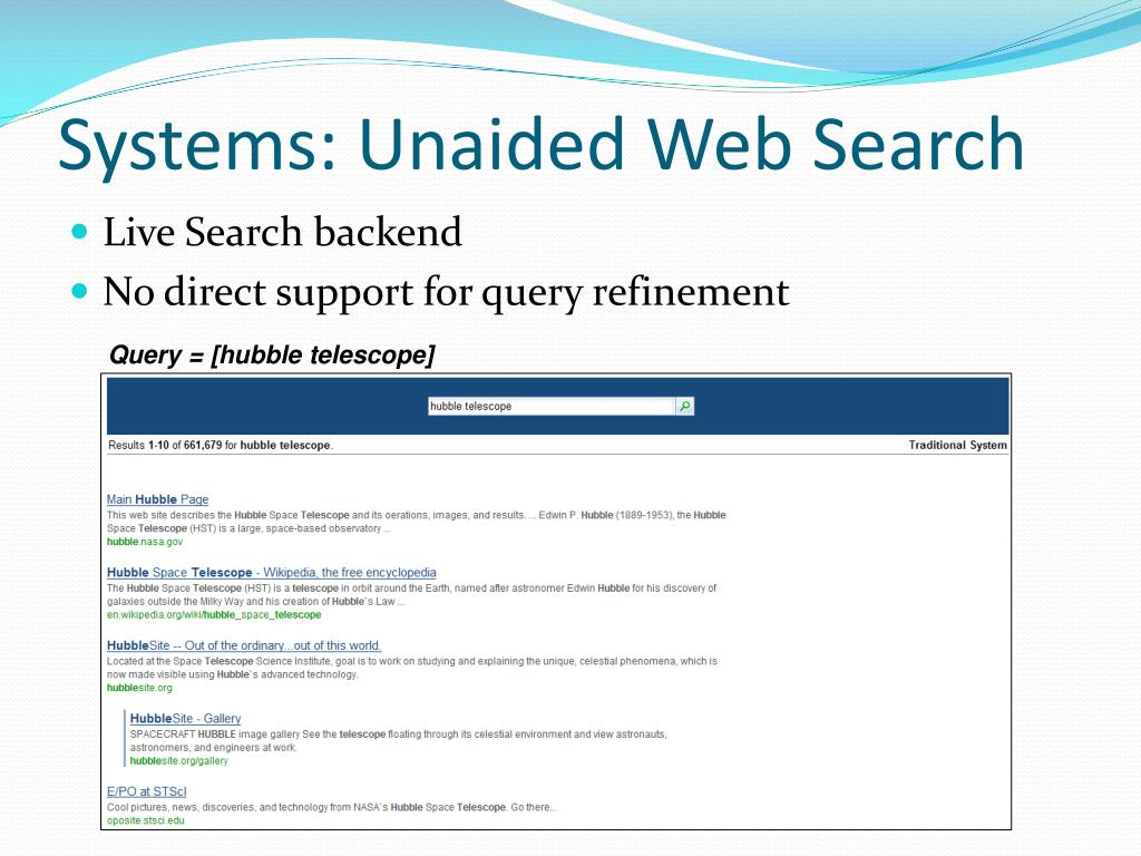 Systems: Unaided Web Search