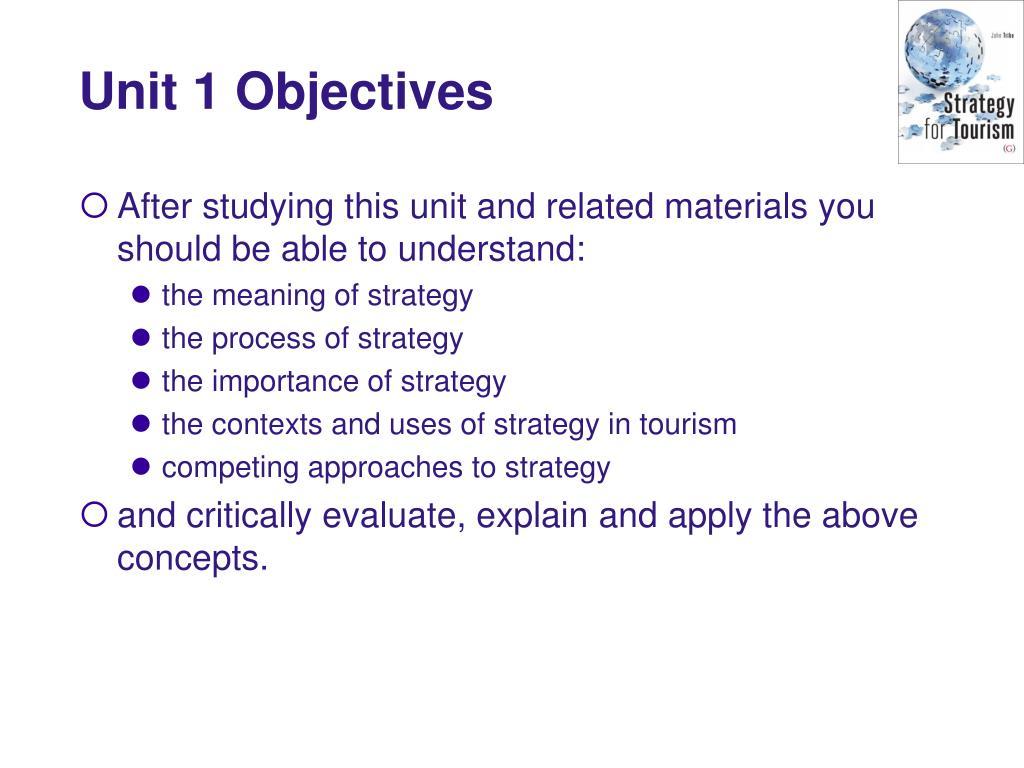 Unit 1 Objectives