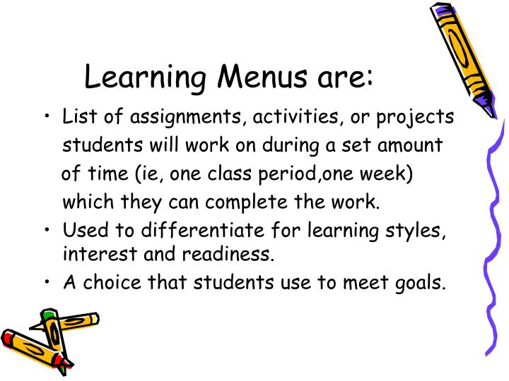 Learning Menus are: