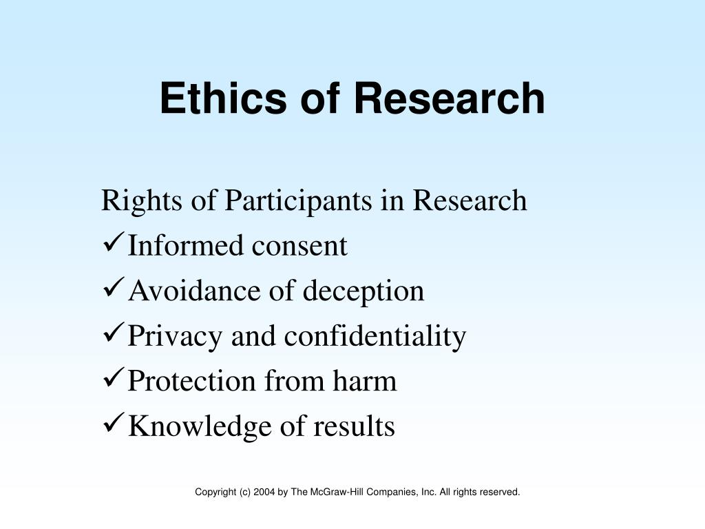 Rights of Participants in Research