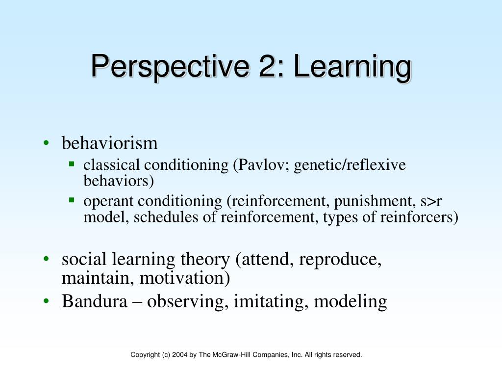 Perspective 2: Learning