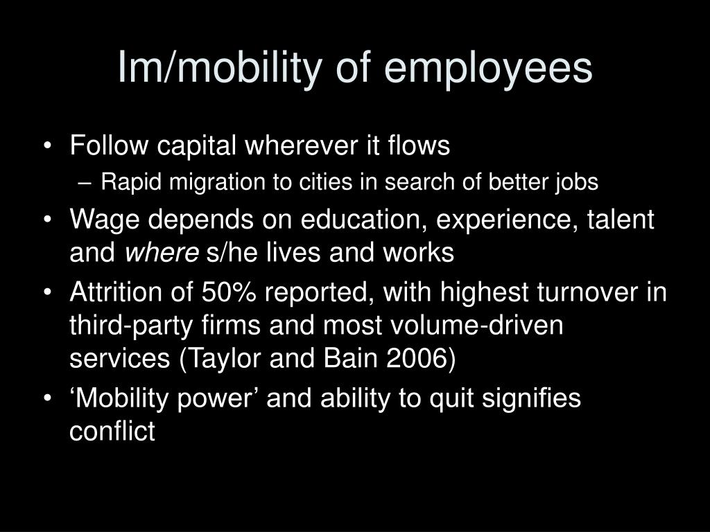 Im/mobility of employees