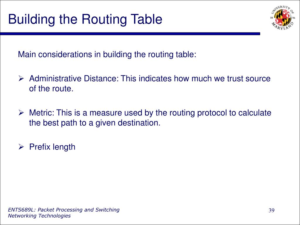 Building the Routing Table