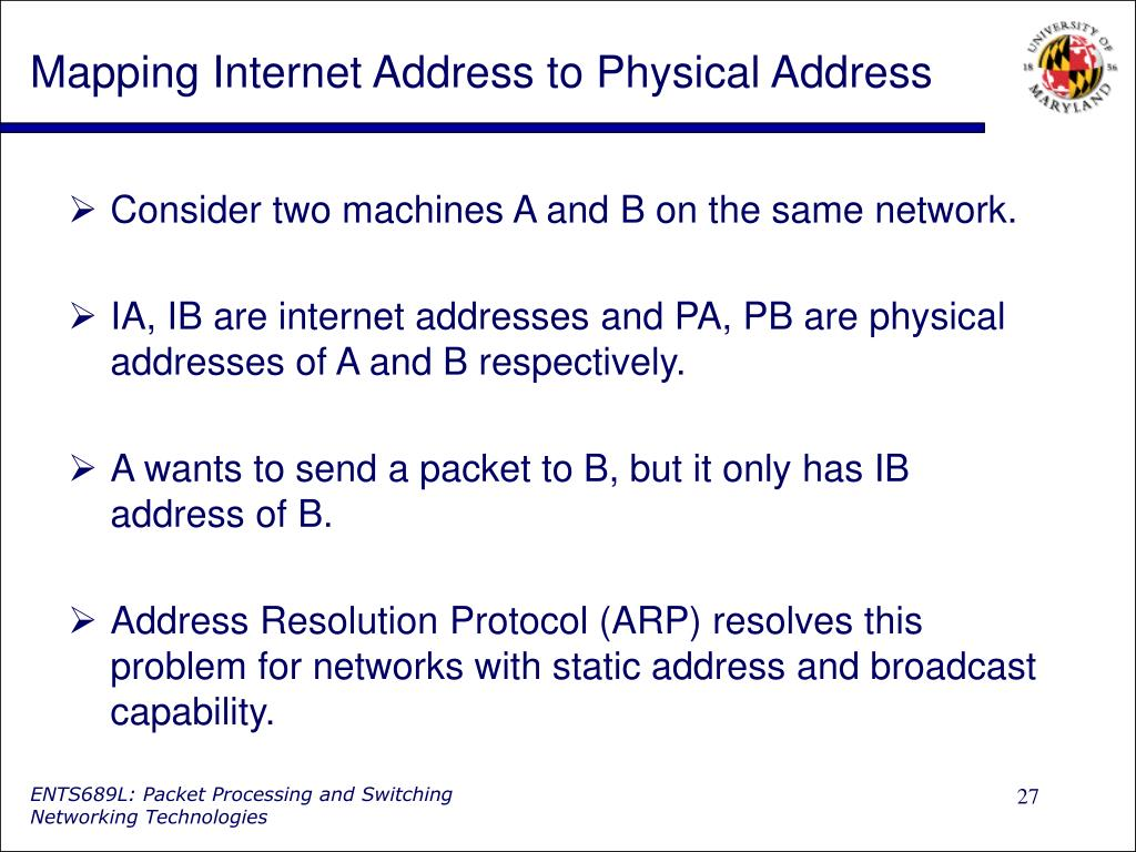 Mapping Internet Address to Physical Address