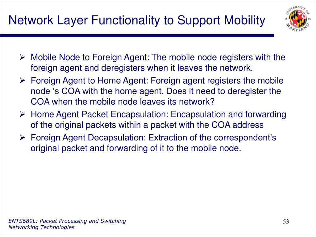 Network Layer Functionality to Support Mobility