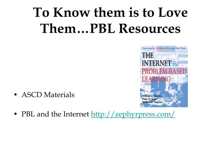To Know them is to Love Them…PBL Resources