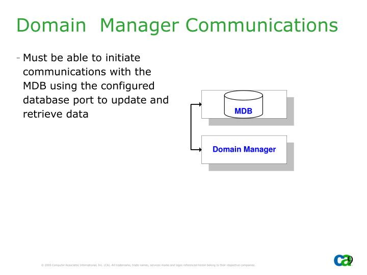 Domain  Manager Communications