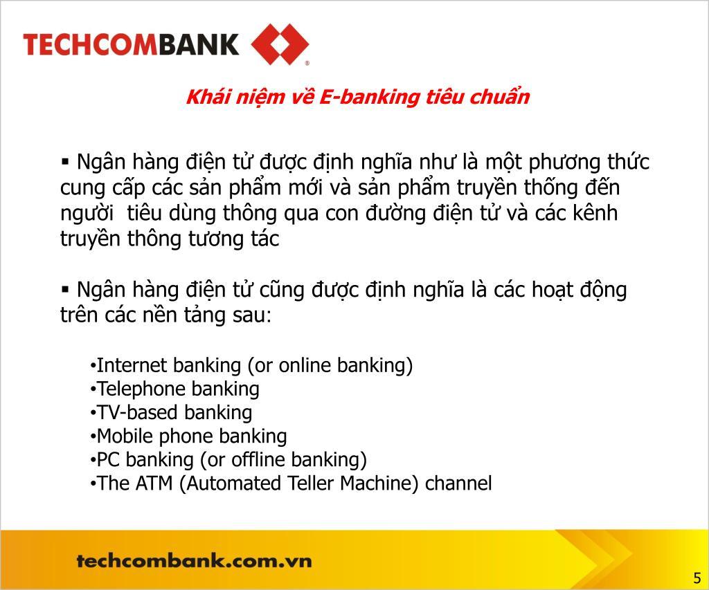 Khái niệm về E-banking tiêu chuẩn