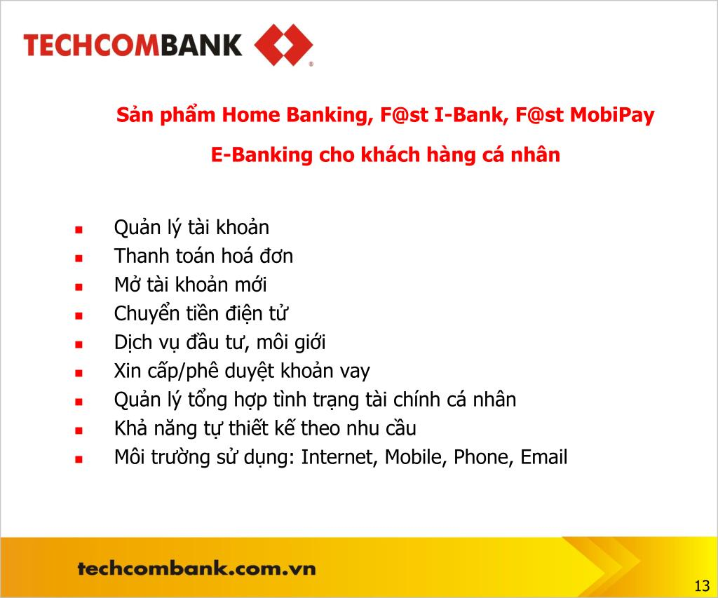 Sản phẩm Home Banking, F@st I-Bank, F@st MobiPay