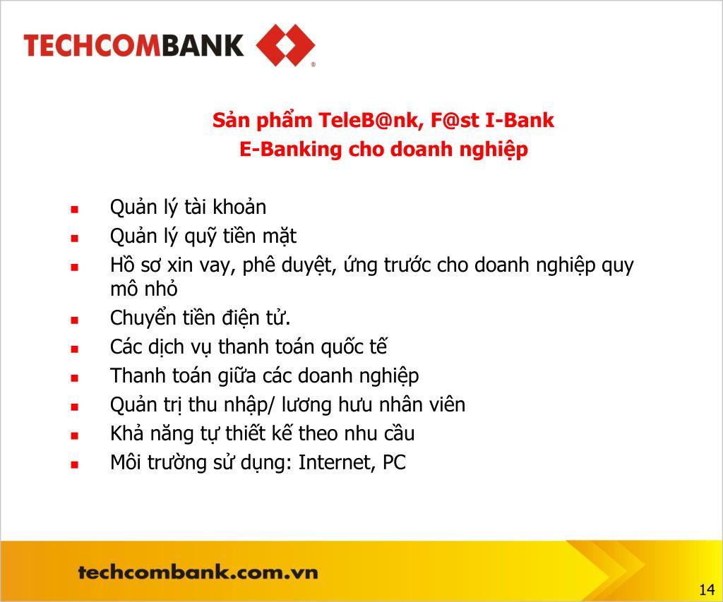 Sản phẩm TeleB@nk, F@st I-Bank