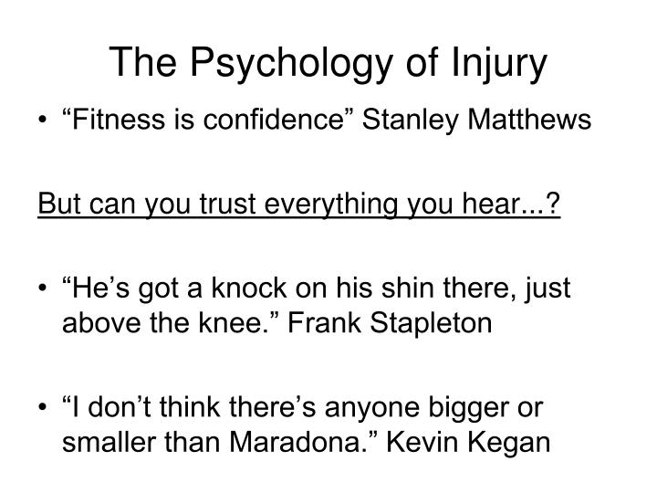 The Psychology of Injury