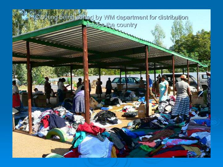 Clothing being sorted by WM department for distribution