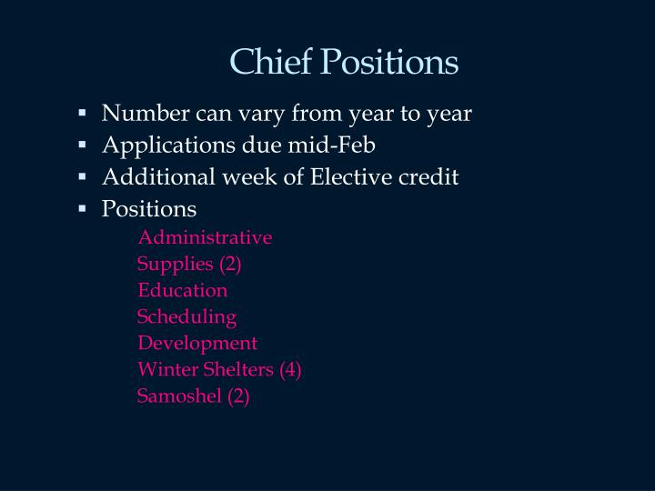 Chief Positions