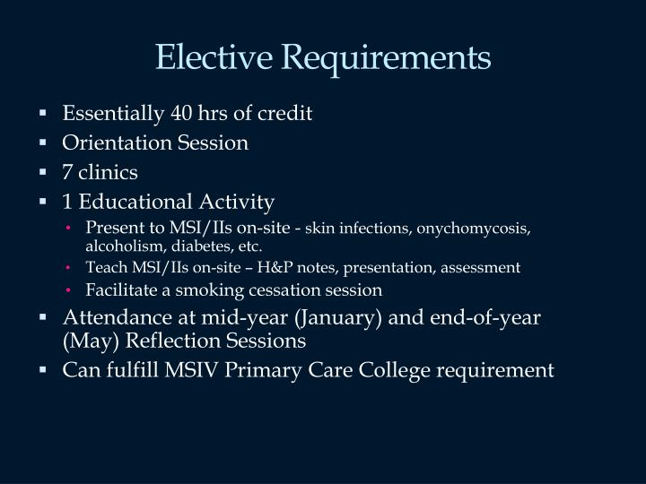 Elective Requirements