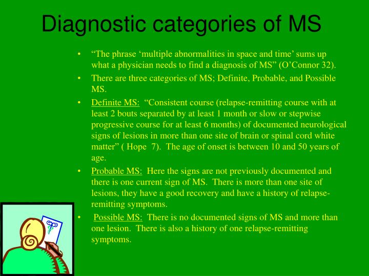 Diagnostic categories of MS