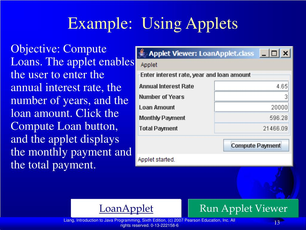 Example:  Using Applets