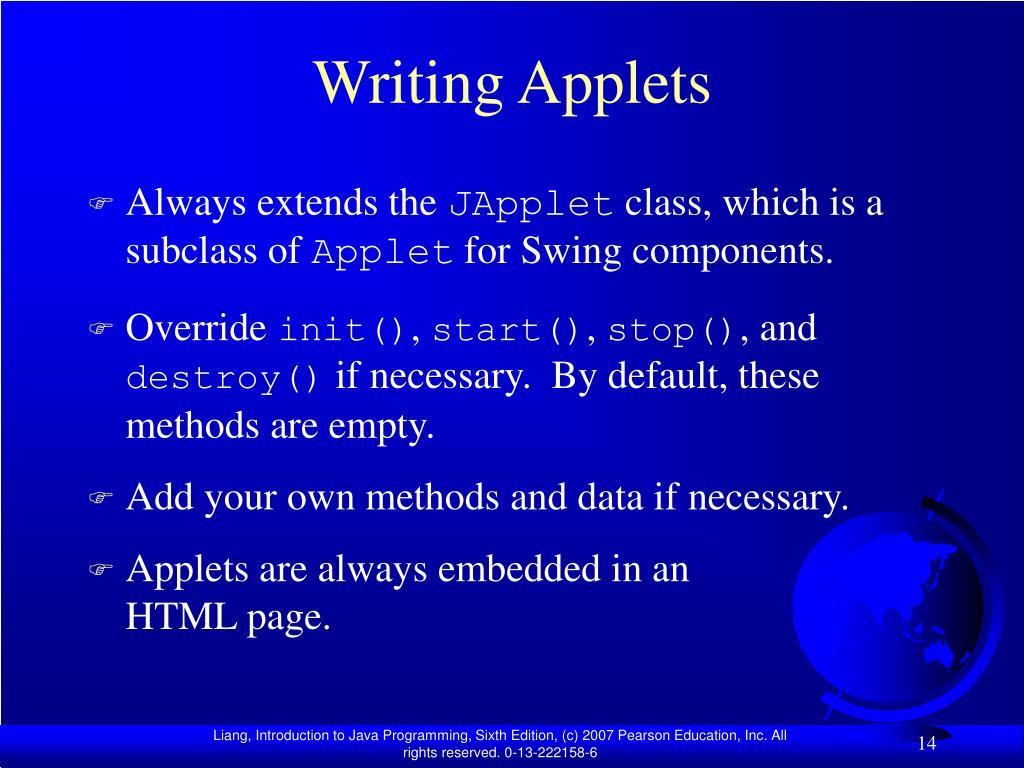 Writing Applets