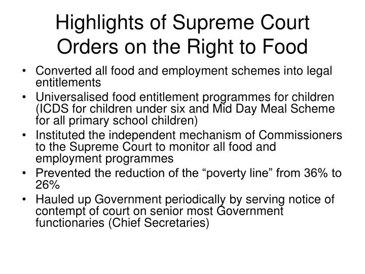Highlights of Supreme Court Orders on the Right to Food