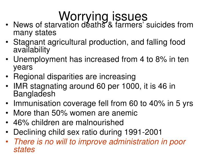 Worrying issues