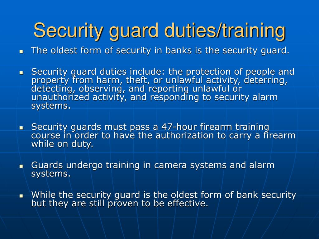 Security guard duties/training